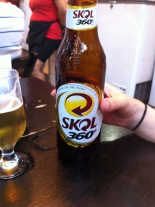 Beer of the day - Skol 360* A more sensible sized 600ml bottle, selling at £1.50 just one block back from Copacabana Beach. Very civilised.