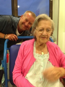 Mum, almost smiling, proving what incredible drugs are available these days!!!