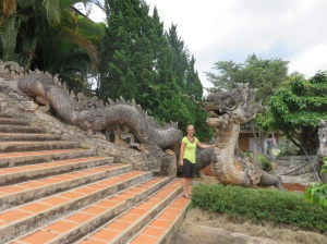A terrifying dragon. And a beautiful sculpture of a mythical beast.