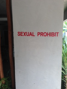 This is on the wall at the entrance to our hotel! Don't know what it's meant to mean!!