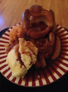 Sausage, mash and giant puds! Well done Nigella!