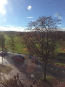 The view from our flat, taken during the 7 minutes that the sun appeared this week!